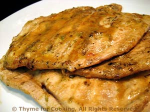 Soy Sauce/Mustard Turkey Cutlets Grilled