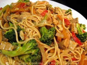 Pork Lo Mein with Peanut Sauce