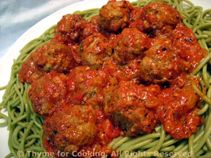 Spaghetti with Pesto Meatballs