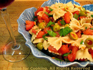 Fresh Tomato and Green Olive Pasta Salad
