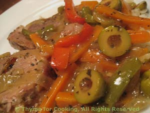 Spanish Pork with Peppers and Olives