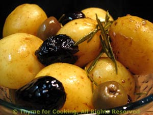 New Potatoes Cooked with Wine and Olives