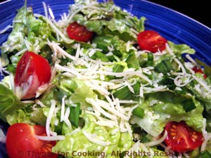 Lettuce Salad with Creamy Dressing and Cherry Tomatoes