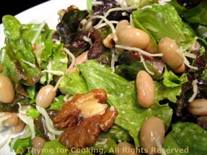 Lettuce, Walnut, and White Bean Salad