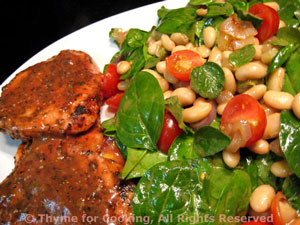 Grilled Pork Chops with Spinach and Cannellini Salad
