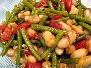 Green and White Beans with Tomatoes, Shallots and Sage