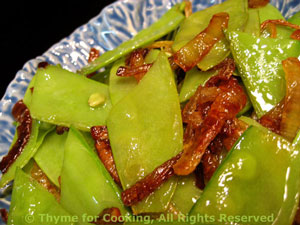 Sautéed Snow Peas  with Browned Shallots
