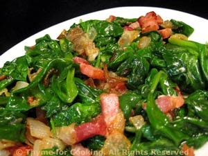 Wilted Spinach with Bacon and Onion