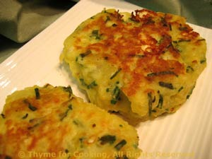 Potato Cakes with Feta, Chives, easy side dish, healthy gourmet cooking.